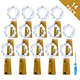 Metaku Cork Lights for Wine Bottle, Battery Operated Fairy Lights, 6.6ft 20 LED String Lights Starry Firefly Lights DIY Decorative Lighting for Wedding Party Holiday Events (14 Pack, Cool White)