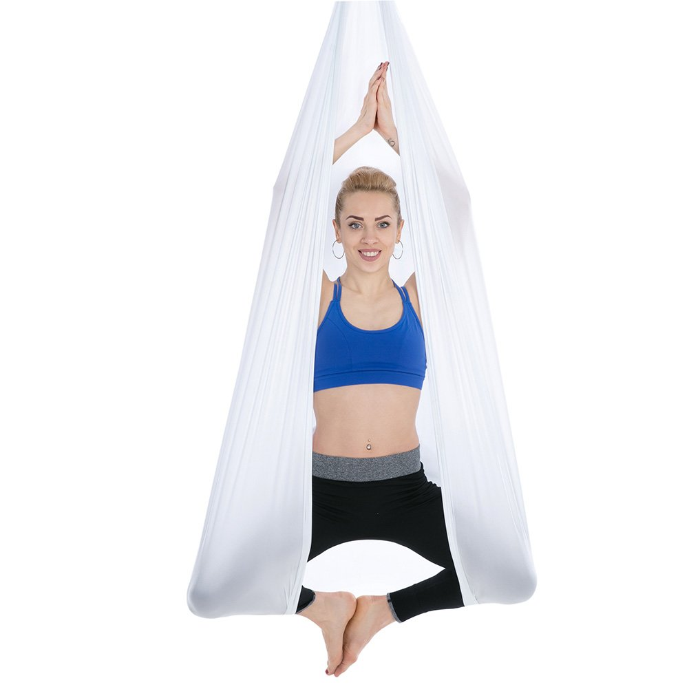 Tofern Aerial Yoga Hammock Kit 5.5 Yards Antigravity Trapeze Inversion Exercise Home Indoor Outdoor Yoga Silk Swing Sling Set with Hardware Ceiling Hooks Bolts 2 Extension Straps, White by Tofern (Image #4)