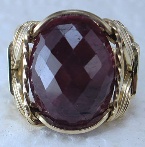 (Natural Ruby Gemstone 14k gf Gold or Sterling Silver Ring US Size 5-14 Art Jewelry HGJ Wide Band)