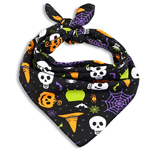 Skeleton Bandana Halloween (Cackleberry Home Witch's Brew Halloween Cotton Dog Bandana Scarf Accessory)