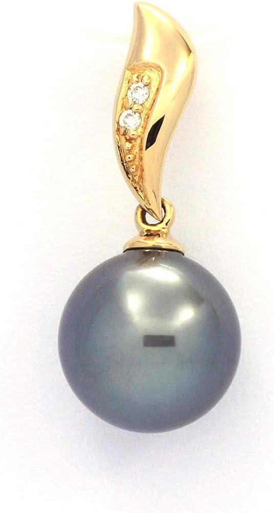 Colgante de Oro 18Kl + 2 diamantes 0.018 Quilates VS1 y 1 Perla de Tahiti Redonda A 10.2 mm