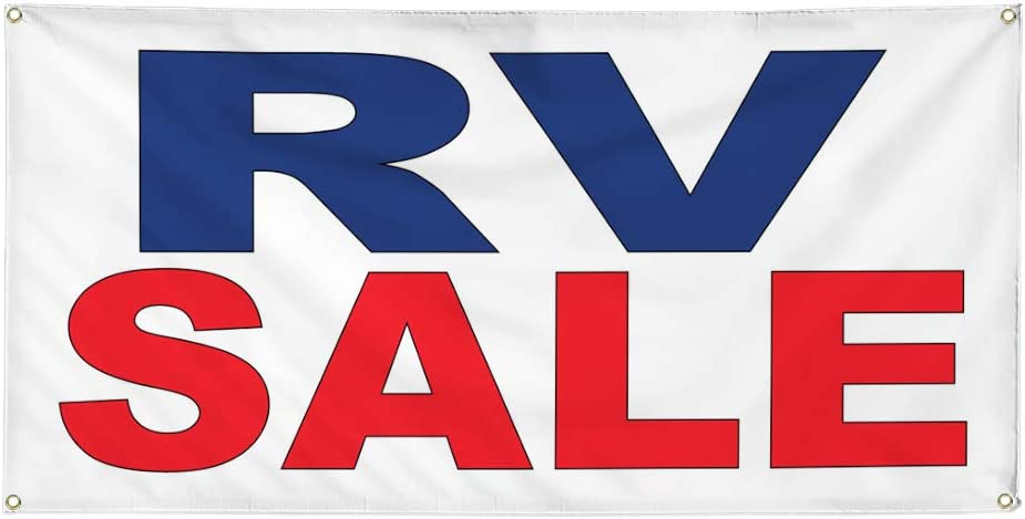 Vinyl Banner Multiple Sizes Rv Sale Red Blue Auto Car Repair Shop Automotive Outdoor Weatherproof Industrial Yard Signs 8 Grommets 48x96Inches