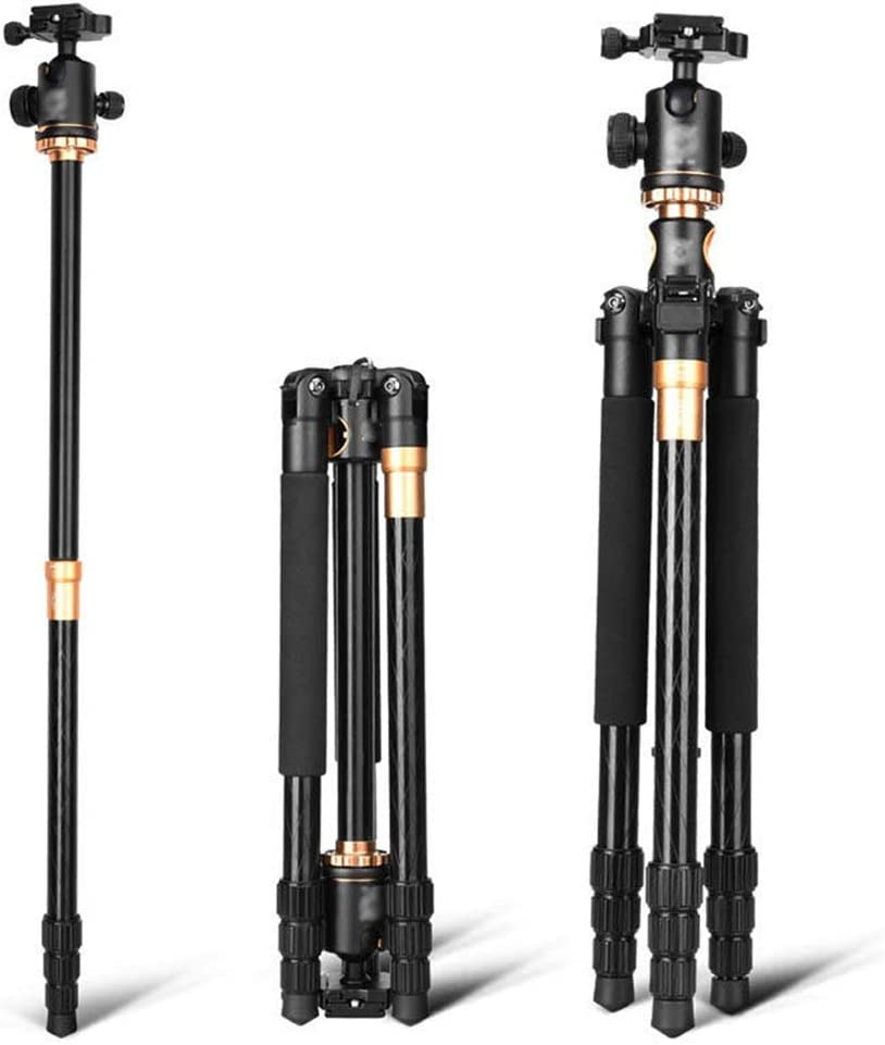 Color : Black, Size : One Size BWAM-elck Travel Tripod Monopod Professional Camera Tripod 61 Inch Portable Compact Travel Horizontal System Tripod for DSLR Cameras Ideal for Travel and Work