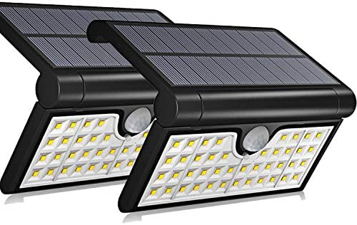 Aluvee Original Solar Lights Outdoor,2 Pack 42 LED Fold Motion Sensor IP65 Waterproof Wall Lighting Security Wireless for Yard Wall Porch Patio Path Fence