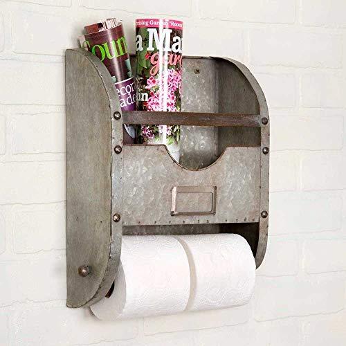 Industrial Nameplate Bathroom Caddy-Galvanized Metal (Galvanized Rack Magazine)