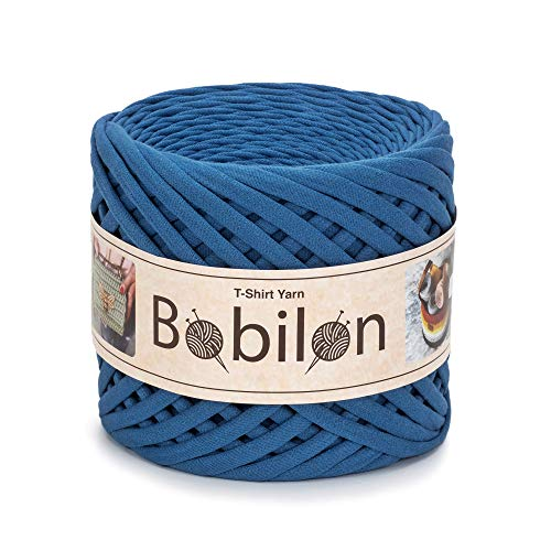 T-Shirt Yarn Fettuccini Zpagetti Style - Tshirt Yarn for Crocheting - Ribbon Yarn 100% Cotton - Knitting Yarn Ball - T Yarn Organic - Macrame T-Yarn - Thick Fabric Yarn - Jersey Yarn Blue Jeans