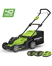 "Save on Greenworks 40V Cordless Lawn Mower 41cm (16"") with 2x 2Ah batteries and charger - 2504707UC and more"