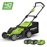 Greenworks 40V Cordless Lawn Mower 41cm (16') with 2x 2Ah batteries and charger - 2504707UC