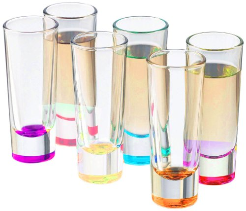 Palais Glassware Heavy Base Shot Glass Set (Set of 6) 2 Oz. (Bottom Colored) by Palais Glassware
