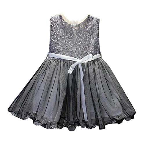 Price comparison product image GONKOMA Toddler Kids Girls Princess Party Dress Tulle Tutu Pageant Dresses (2-Years,  Silver)