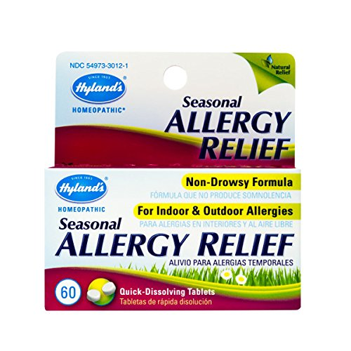 Allergy Pills by Hyland's, Non Drowsy Seasonal Allergy Relief, Safe and Natural for Indoor & Outdoor Allergies, 60 Quick Dissolving Tablets ()