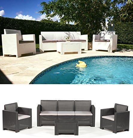 Sofá tres Sillas Con sillones y mesa/salón/salottino para exterior/muebles jardín – Mod.Kansas, marrón: Amazon.es: Jardín