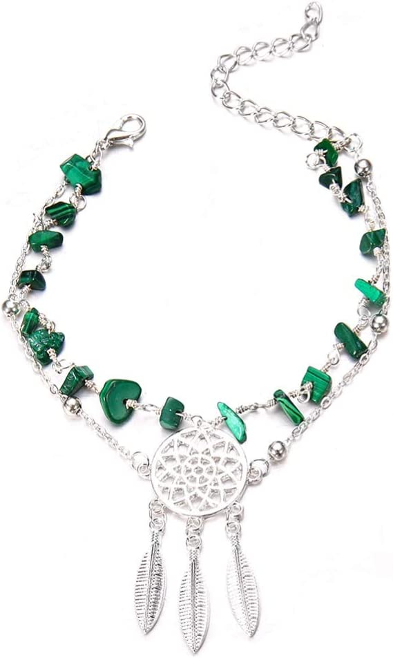 JGONas Women Multilayer Dream Catcher Faux Turquoise Beaded Foot Chain Anklet Bracelet Summer Anklet Bracelet for Women Silver+Green