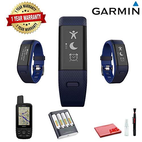 Garmin vivosmart HR+ Activity Tracker (Regular, Midnight Blue/Bolt Blue) with Garmin MAP GPS (Hike, Trail, Mountain Biking) and 1 Year Extended Warranty
