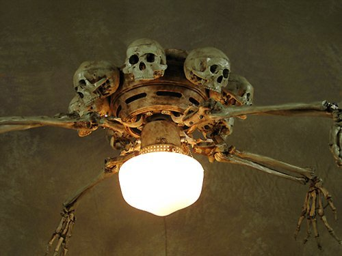 Ceiling Fan with Skeleton Arms, Skulls and Light