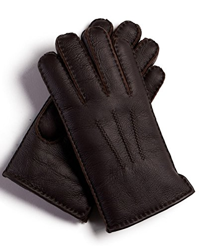 Minnesota Brown Napa Leather Shearling Sheepskin Gloves - (Classic Shearling Gloves)