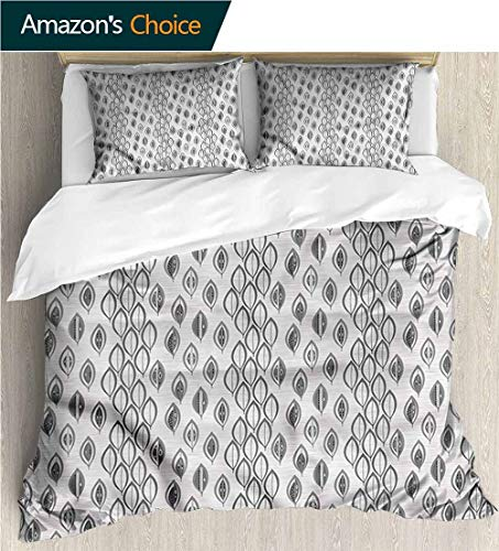 carmaxs-home Bedding Bedspread,Box Stitched,Soft,Breathable,Hypoallergenic,Fade Resistant Colorful Floral Print -3 Pieces-Leaves Greyscale Foliage Design (80