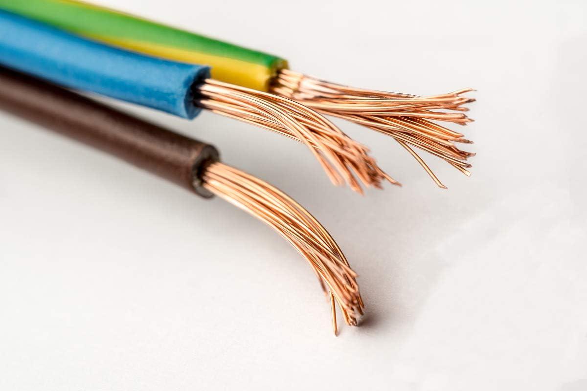 rallonge 10 m/ètres de fil /électrique recouvert de tissu 3 fils de cuivre c/âbles noirs pour /électricit/é 0,75 mm2 x 3 c/âbles torsad/és