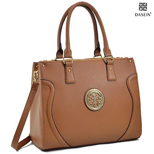 dasein-pebbled-designer-satchel-handbag-briefcase-top-handle-bag-front-embossed-with-shoulder-strap-