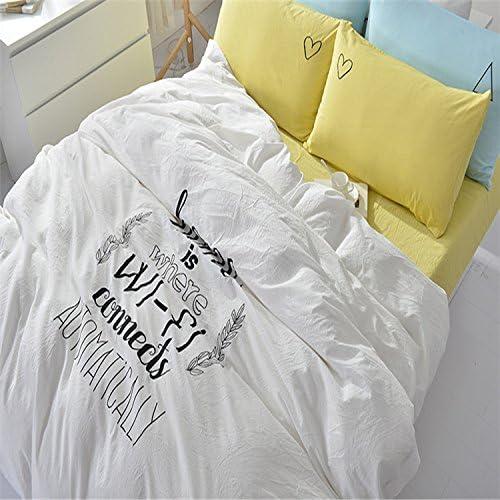 Simple de algodón Blancas Bordadas de Cuatro Piezas de 2,0m de algodón sábanas de algodón Colcha Cama Cubierta del colchón,Hoja de Cama,Amor Infinito,1,5 m (5 pies) de la Cama: Amazon.es: Hogar