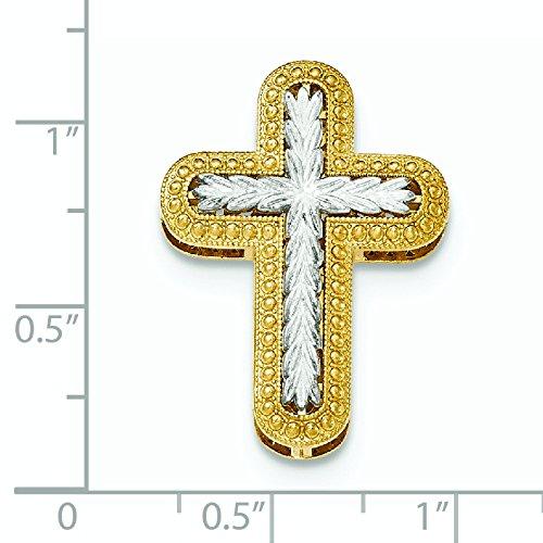 Y W Or poli 14carats arrondis Croix Chaîne diapositive Pendentif