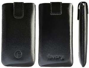 Favory Original - Funda de piel con pestaña retráctil para Huawei Ascend P6, color negro