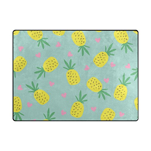 INGBAGS Super Soft Modern Pineapple Area Rugs Living Room Carpet Bedroom Rug for Children Play Solid Home Decorator Floor Rug and Carpets 80x 58 Inch For Sale
