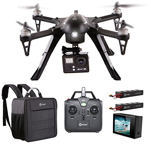 Contixo F17+ RC Quadcopter Photography Drone 4K Ultra HD Camera 16MP, 2 High Capacity Batteries, Supports GoPro Hero Cameras, Water Resistant Back Bag - Best Gift For Christmas