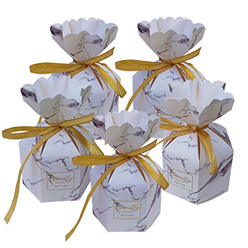 Lontenrea 50 Pcs Marble Pattern Six-Sided Vase-Shaped Candy Boxes Wedding Birthday Party Favor with Golden Ribbon Decoration (Grey Marble)