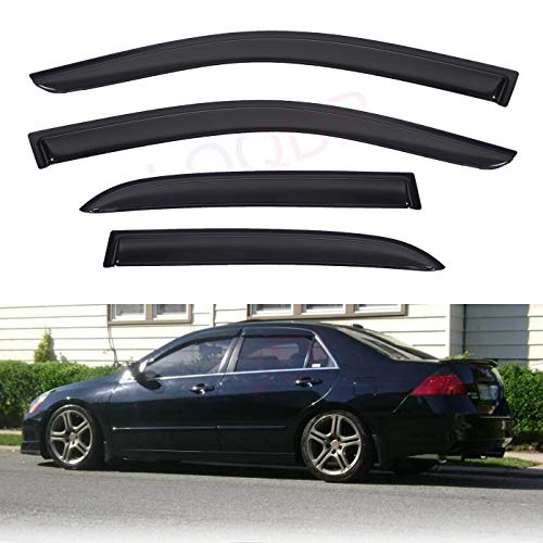 LQQDP Set of 4 Front+Rear JDM Smoke Sun/Rain Guard Outside Mount Tape-On Acrylic Window Visors For 03-07 Honda Accord 4-Door ()
