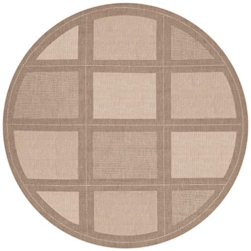 Couristan Recife Summit Natural - Couristan 1043/3000 Recife Summit 8-Feet 6-Inch Round Rug, Natural Cocoa