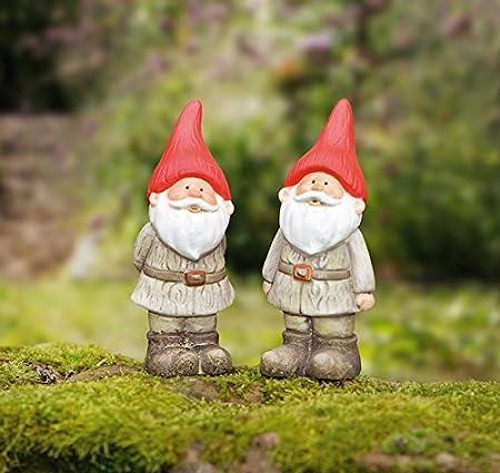 2 Deko rojo mütz enanito de jardín jardín decoración Terracotta Enano de jardín Figura de cerámica Enano Deko Enano: Amazon.es: Hogar