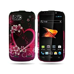 BLACK Hard Snap-On Cover Case with RED ROSE PINK PURPLE LOVE HEART Design for ZTE N861 WARP 2 / SEQUENT...