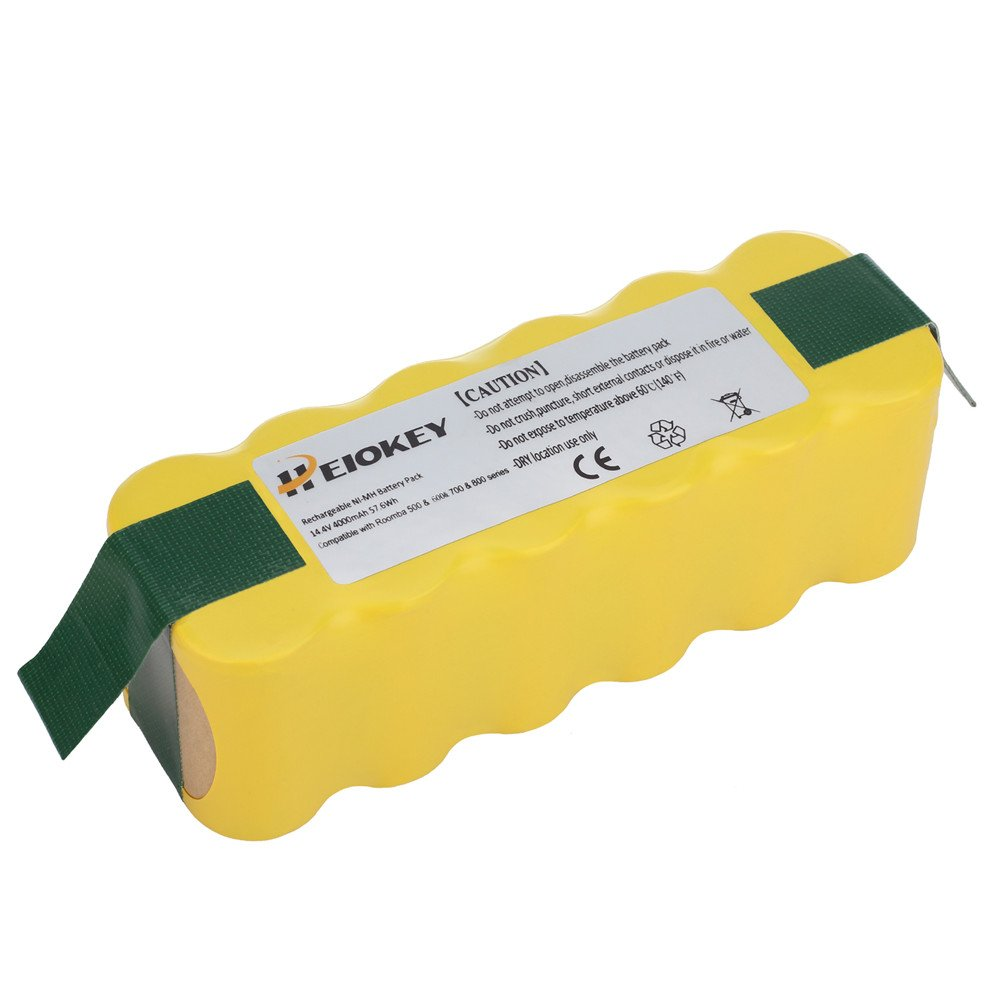HEIOKEY 14.4v 4000mAh Replacement NiMh Battery for iRobot Roomba 500 510 530 532 535 540 550 560 562 570 580 585 595 600 610 620 630 650 700 760 770 780 790 800 870 880 R3 Robot Vacuum Cleaners