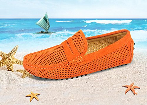 Happyshop Mens Daim Cuir Défaire Les Mocassins Évidés Évider Les Chaussures De Conduite Mocassins Orange