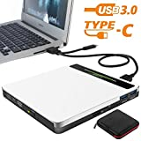 External CD DVD Drive NOLYTH 5-in-1 USB-C CD DVD RW Player Burner Writer for Mac Laptop MacBook Pro Air Desktop PC Windows with Extra SD&TF Card Reader and USB 3.0 Hub