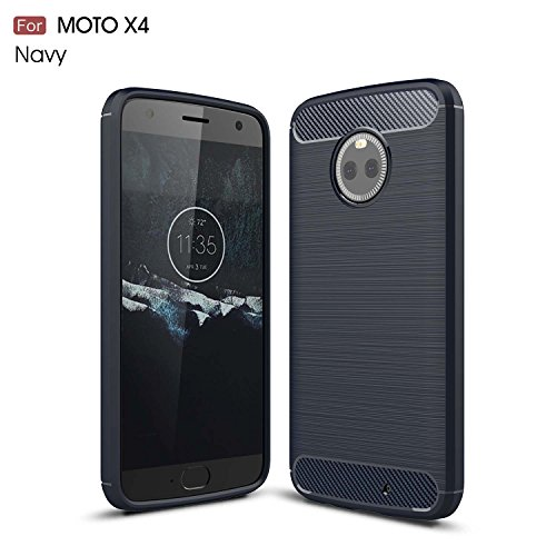 Price comparison product image Moto X4 Case,DAMONDY Brushed Armor Resilient Shock Absorption Carbon Fiber [Wiredrawing Series][SOFT] Full Protection Phone Case for Motorola Moto X4 (2017)-Navy