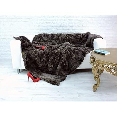 Amazing Tuscan Lambskin Fur Throw Blanket Brown 210cm X 170cm 912