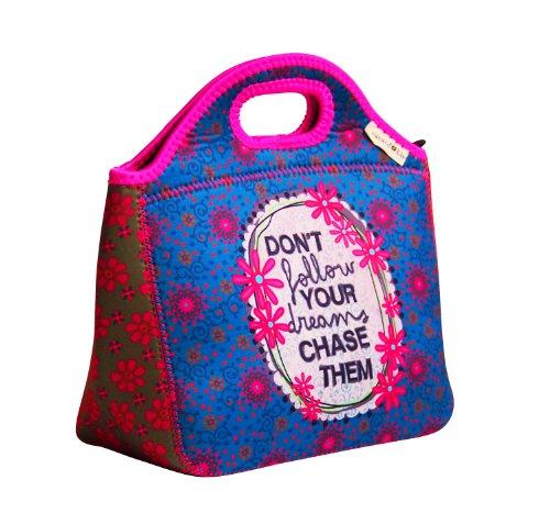 NOI fashion Lunch Bag BAG 162 Kinder Kindergartentasche Blümchen türkis/ pink 26x24x9 cm (LxBxT)