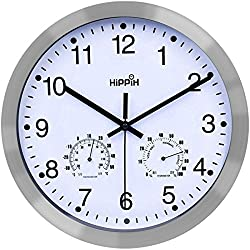 Hippih 12 Inch Silent Non-ticking Wall Clock- Metal Frame Glass Cover ...