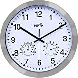 Hippih 12 Inch Silent Non-ticking Wall Clock- Metal Frame Glass Cover … (Kitchen)