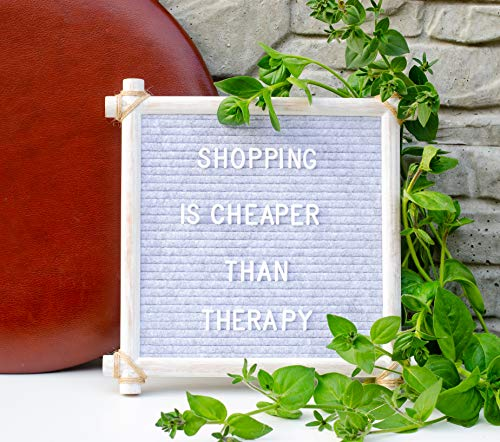 Hand Crafted Felt Letter Board | Unique Design with Rustic Wood & Rope | Artisan Vintage Frame + Back Stand | 12x12 Inch Antique Changeable Message Board 350 White Alphabet Letters, Numbers & Emojis Photo #4