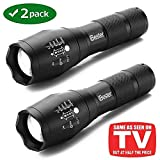 Tactical Flashlight [2 PACK], iBester 1600 Lumens CREE  XML-T6 LED Taclight As Seen On TV, Portable, Zoomable, 5 Modes, Water Resistant, Perfect for Camping, Outdoor