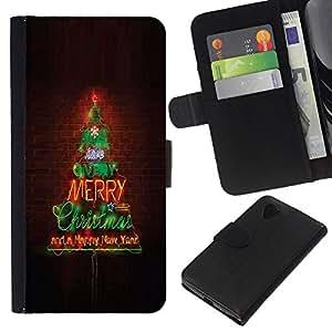 Planetar® Modelo colorido cuero carpeta tirón caso cubierta piel Holster Funda protección Para LG Google NEXUS 5 / E980 / D820 / D821 ( Merry Christmas Tree Lights Brick Wall )