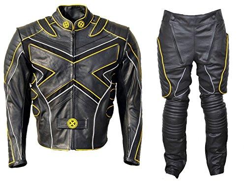 Xmen Suit (NorthernFinchMen's Xmen Motorcycle Leather Suit Cow Black 5X-Large)