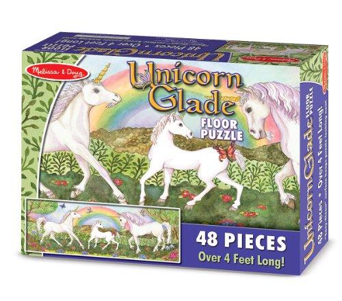 Amazoncom Melissa Doug Unicorn Glade Jumbo Jigsaw Floor Puzzle - Melissa and doug floor puzzle