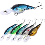 Crakbaits Fishing Lures Multi-Jointed Wobbler Minnow Popper Diving Topwater Lure Swimbaits for Bass Trout Walleye Freshwater Saltwater