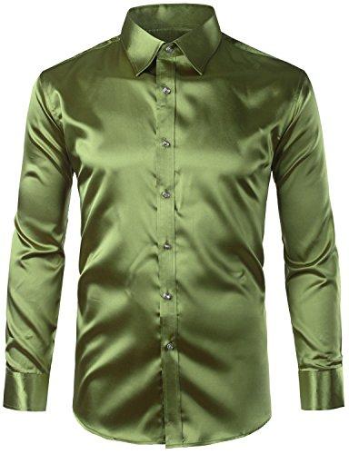 Green Dress Silk Dance (ZEROYAA Mens Regular Fit Long Sleeve Shiny Satin Silk Like Dance Prom Dress Shirt Tops Z6-Army Green Large)