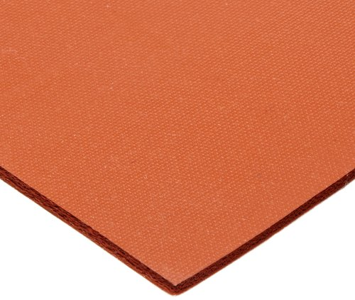 CS Hyde Silicone Sponge Rubber, Closed Cell, Commercial Grade, Medium Density, Acrylic Adhesive, 0.125'' Thick, Red, 12'' Width, 12'' Length by CS Hyde