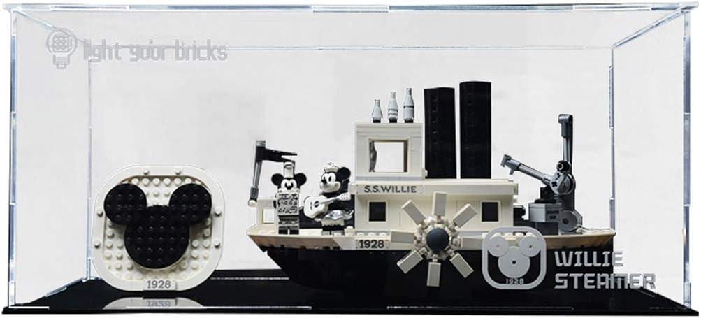 Seciie Pr/ésentoir Vitrine pour Lego 21317 Vitrine Acrylique Display Case pour Lego Mickey Mouse Steamboat Willie 21317